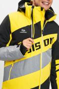 Оптом Горнолыжный костюм мужской желтого цвета 077022J в Екатеринбурге, фото 7