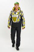 Оптом Горнолыжный костюм анорак мужской желтого цвета 077027J в Екатеринбурге, фото 2