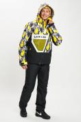 Оптом Горнолыжный костюм анорак мужской желтого цвета 077027J в Екатеринбурге, фото 5