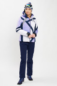 Оптом Горнолыжный костюм женский фиолетового цвета 077031F в Екатеринбурге