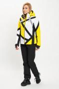 Оптом Горнолыжный костюм женский желтого цвета 077031J в Екатеринбурге, фото 2