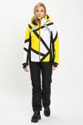 Оптом Горнолыжный костюм женский желтого цвета 077031J в Екатеринбурге