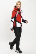 Оптом Горнолыжный костюм женский красного цвета 077031Kr в Екатеринбурге, фото 2