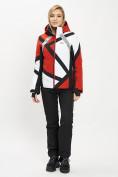 Оптом Горнолыжный костюм женский красного цвета 077031Kr в Екатеринбурге