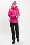 Оптом Горнолыжный костюм женский розового цвета 077034R в Екатеринбурге
