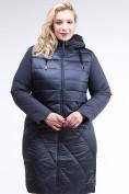 Оптом Куртка зимняя женская классическая темно-синего цвета 100-916_123TS в Казани, фото 2