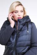 Оптом Куртка зимняя женская классическая темно-синего цвета 100-916_123TS в Казани, фото 7