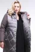 Оптом Куртка зимняя женская классическая коричневого цвета 100-916_48K в Нижнем Новгороде, фото 6