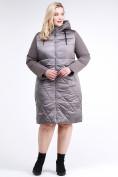 Оптом Куртка зимняя женская классическая коричневого цвета 100-916_48K в Нижнем Новгороде