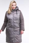 Оптом Куртка зимняя женская классическая коричневого цвета 100-916_48K в Нижнем Новгороде, фото 2