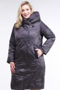 Оптом Куртка зимняя женская стеганная темно-серого цвета 105-917_58TC в Екатеринбурге, фото 2