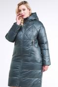 Оптом Куртка зимняя женская стеганная темно-зеленого цвета 105-918_16TZ в Казани, фото 4