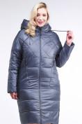 Оптом Куртка зимняя женская стеганная темно-серого цвета 105-918_25TC в  Красноярске, фото 2