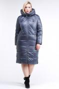 Оптом Куртка зимняя женская классическая темно-серого цвета 108-915_25TC в Екатеринбурге