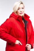 Оптом Куртка зимняя женская классическая красного цвета 110-905_4Kr в Казани, фото 6