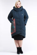 Оптом Куртка зимняя женская классическая БАТАЛ темно-зеленого цвета 112-901_14TZ в Казани, фото 2