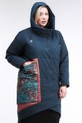 Оптом Куртка зимняя женская классическая БАТАЛ темно-зеленого цвета 112-901_14TZ в Казани, фото 6