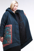 Оптом Куртка зимняя женская классическая БАТАЛ темно-зеленого цвета 112-901_14TZ в Казани, фото 7