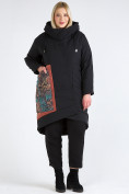Оптом Куртка зимняя женская классическая БАТАЛ черного цвета 112-901_701Ch в Казани, фото 2