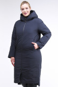 Оптом Куртка зимняя женская удлиненная темно-синего цвета 112-919_123TS в Казани, фото 4
