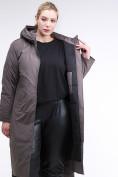 Оптом Куртка зимняя женская удлиненная коричневого цвета 112-919_48K в  Красноярске, фото 6
