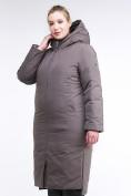 Оптом Куртка зимняя женская удлиненная коричневого цвета 112-919_48K в  Красноярске, фото 3