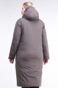 Оптом Куртка зимняя женская удлиненная коричневого цвета 112-919_48K в  Красноярске, фото 4