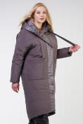 Оптом Куртка зимняя женская классическая  коричневого цвета 118-931_36K в Екатеринбурге