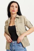 Оптом Рубашка классическая женская бежевого цвета 12002B в Екатеринбурге, фото 4
