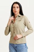 Оптом Рубашка классическая женская бежевого цвета 12002B в Екатеринбурге