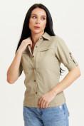 Оптом Рубашка классическая женская бежевого цвета 12002B в Екатеринбурге, фото 2