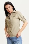 Оптом Рубашка классическая женская бежевого цвета 12002B в Екатеринбурге, фото 3