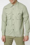 Оптом Рубашка классическая мужская бежевого цвета 12003B в Екатеринбурге, фото 6