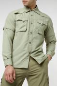 Оптом Рубашка классическая мужская бежевого цвета 12003B в Екатеринбурге
