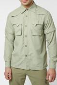 Оптом Рубашка классическая мужская бежевого цвета 12003B в Екатеринбурге, фото 9