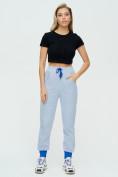Оптом Спортивные брюки женские голубого цвета 1307Gl в Екатеринбурге, фото 2