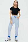 Оптом Спортивные брюки женские голубого цвета 1307Gl в Екатеринбурге, фото 3