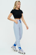 Оптом Спортивные брюки женские голубого цвета 1307Gl в Екатеринбурге, фото 4