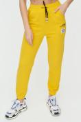 Оптом Штаны джоггеры женские желтого цвета 1312J в Казани, фото 12