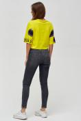 Оптом Топ футболка женская желтого цвета 14001J в Екатеринбурге, фото 3