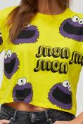 Оптом Топ футболка женская желтого цвета 14001J в Екатеринбурге, фото 5
