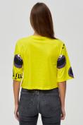 Оптом Топ футболка женская желтого цвета 14001J в Екатеринбурге, фото 6
