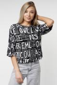 Оптом Топ футболка женская черного цвета 14008Ch в Екатеринбурге, фото 3