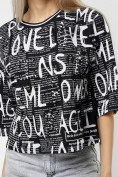 Оптом Топ футболка женская черного цвета 14008Ch в Екатеринбурге