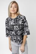 Оптом Топ футболка женская черного цвета 14008Ch в Екатеринбурге, фото 6