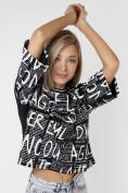Оптом Топ футболка женская черного цвета 14008Ch в Екатеринбурге, фото 5