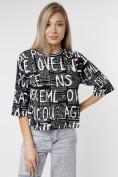 Оптом Топ футболка женская черного цвета 14008Ch в Екатеринбурге, фото 4