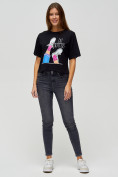 Оптом Топ футболка женская черного цвета 15008Ch в Екатеринбурге, фото 3