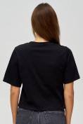 Оптом Топ футболка женская черного цвета 15008Ch в Екатеринбурге, фото 6