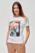 Оптом Женские футболки с принтом белого цвета 1601Bl в Екатеринбурге, фото 3